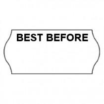 "26x12 CT4 White printed black ""Best Before"" Labels. Permanent Adhesive. (45k/30 Reels)"